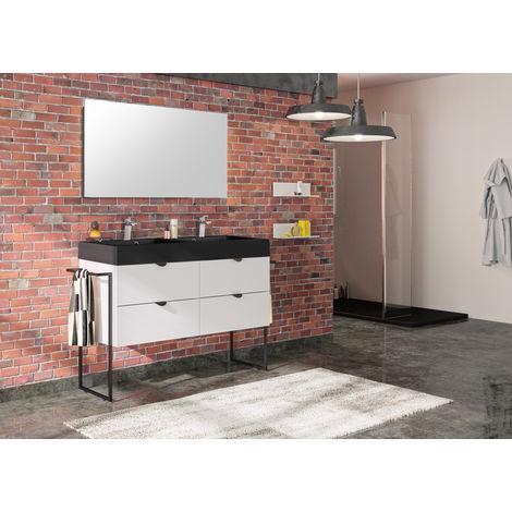 Meuble de salle de bain 120 cm Faktory blanc mat et plan de toilette noir mat