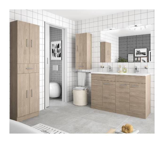 Meuble de salle de bain 120 cm Feros marron Colorado avec lavabo
