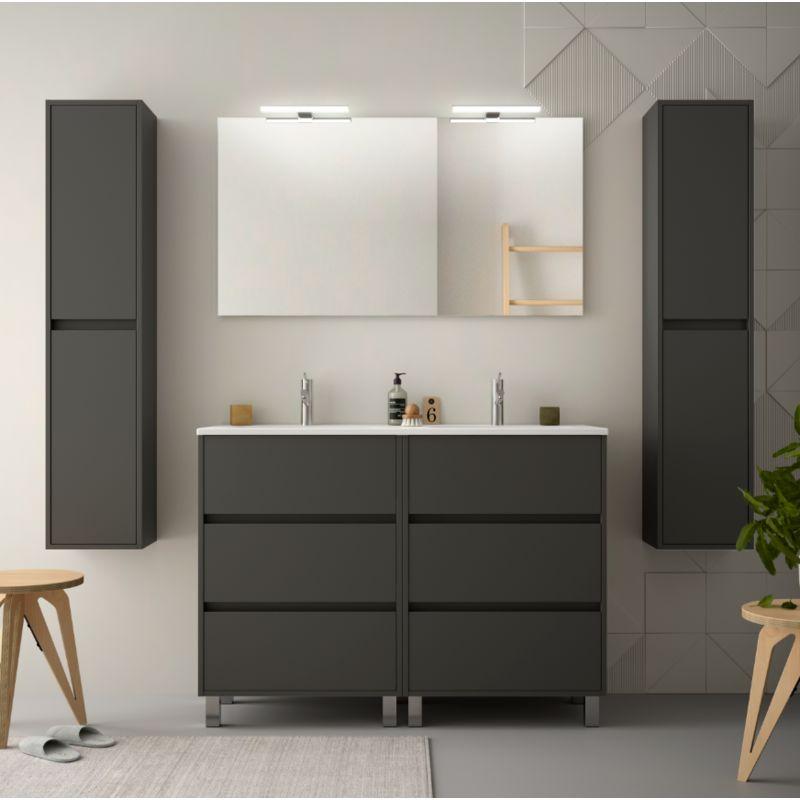 Meuble de salle de bain 120 cm gris opaque avec lavabo en - Meuble salle de bain avec lavabo ...