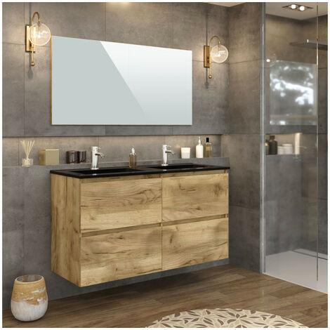 Meuble de salle de bain 120 cm KALEO Couleur chêne - Marron