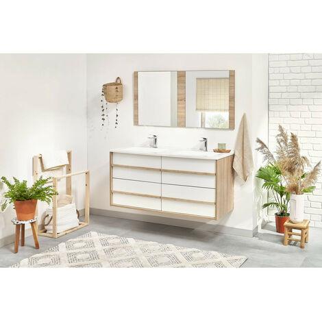 Meuble de salle de bain 120 cm MAHO Chêne et blanc - Chêne et blanc