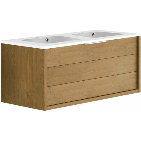 Meuble de salle de bain 120 cm Sorento Chêne Kendal huilé et double vasque en polybéton
