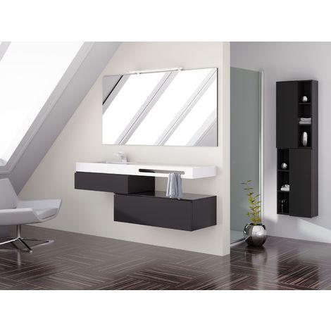 Meuble de salle de bain 120cm BLOC 18 - Ensemble suspendu avec colonne noir