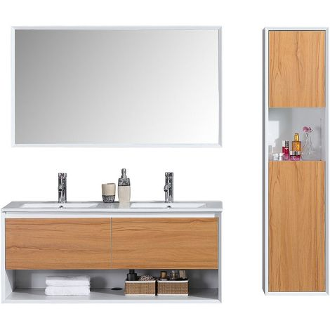 Meuble de salle de bain 120cm double vasque colonne de rangement - Chêne