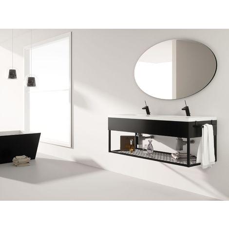 Meuble de salle de bain 120cm METAL 12 - Ensemble noir