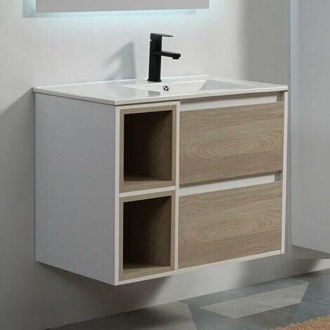 Meuble de salle de bain 2 Tiroirs 2 Niches - Blanc et Chêne Gris - Vasque - 80x46 cm - Scandinave