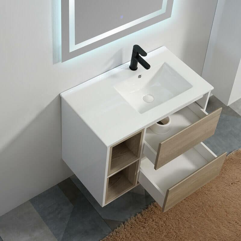 Meuble de salle de bain 2 Tiroirs 2 Niches - MDF 19 mm - Blanc et Chêne  Gris - Vasque - Miroir LED 80x46 cm - Scandinave