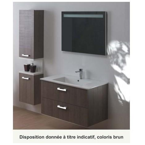 Meuble de salle de bain 2 tiroirs avec vasque céramique DROP - CRISTINA ONDYNA DR2C87C