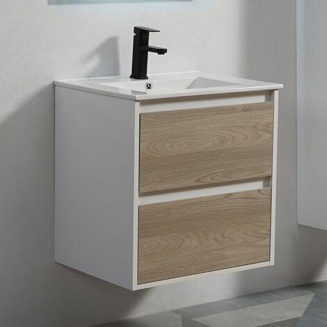 Meuble de salle de bain 2 Tiroirs - Blanc et Chêne Gris - Vasque - 60x46 cm - Scandinave