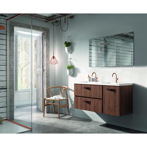 Meuble de salle de bain 2 tiroirs et 1 porte MADERA 120 cm, aspect Chêne charleston et plan de toilette en céramique