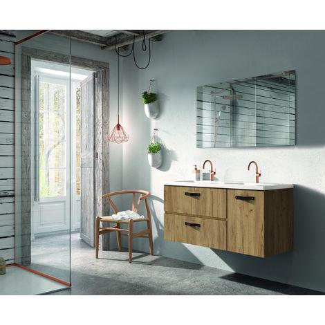 Meuble de salle de bain 2 tiroirs et 1 porte MADERA 120 cm, aspect Chêne halifax naturel et plan de toilette en céramique