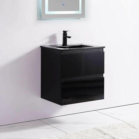 Meuble de salle de bain 2 Tiroirs - Noir - Vasque - 60x46 cm - Dark