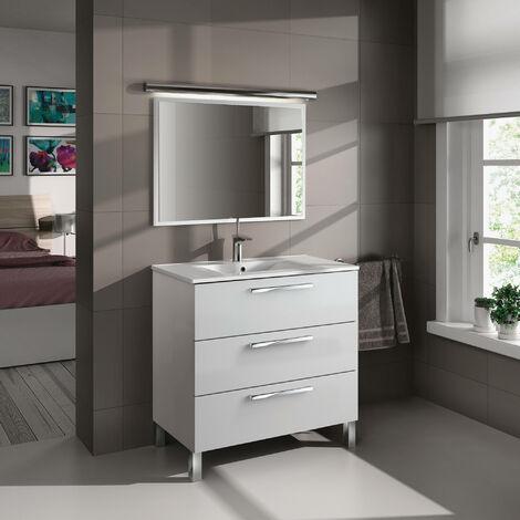 Meuble de salle de bain 3 tiroirs sur le sol 80 cm Blanc Brillant avec miroir