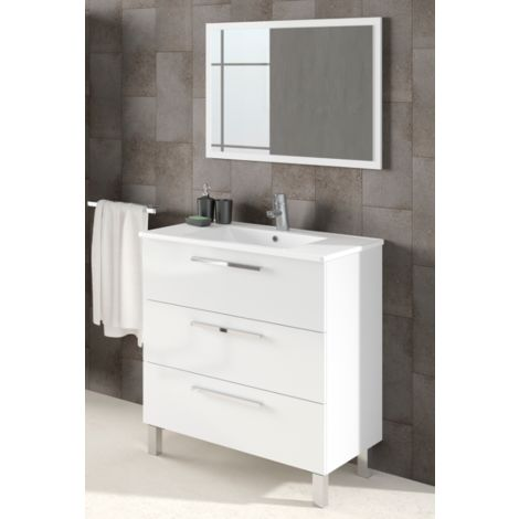 Meuble de salle de bain 3 tiroirs sur le sol 80 cm Blanc ...