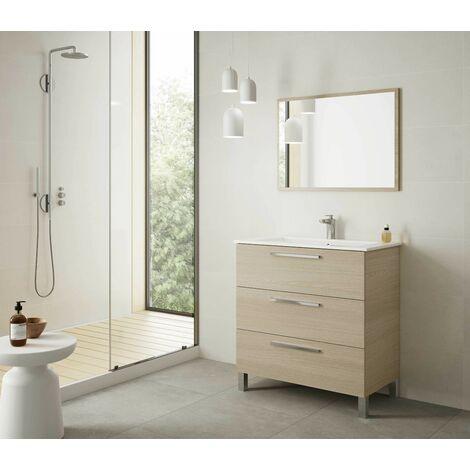 Meuble de salle de bain 3 tiroirs sur le sol 80 cm chêne clair avec miroir
