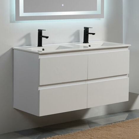 Meuble de salle de bain 4 Tiroirs - Blanc - Double vasque - 120x46 cm - City