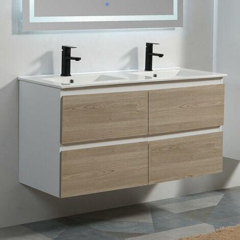 Meuble de salle de bain 4 Tiroirs - MDF 19 mm - Blanc et Chêne Gris ...