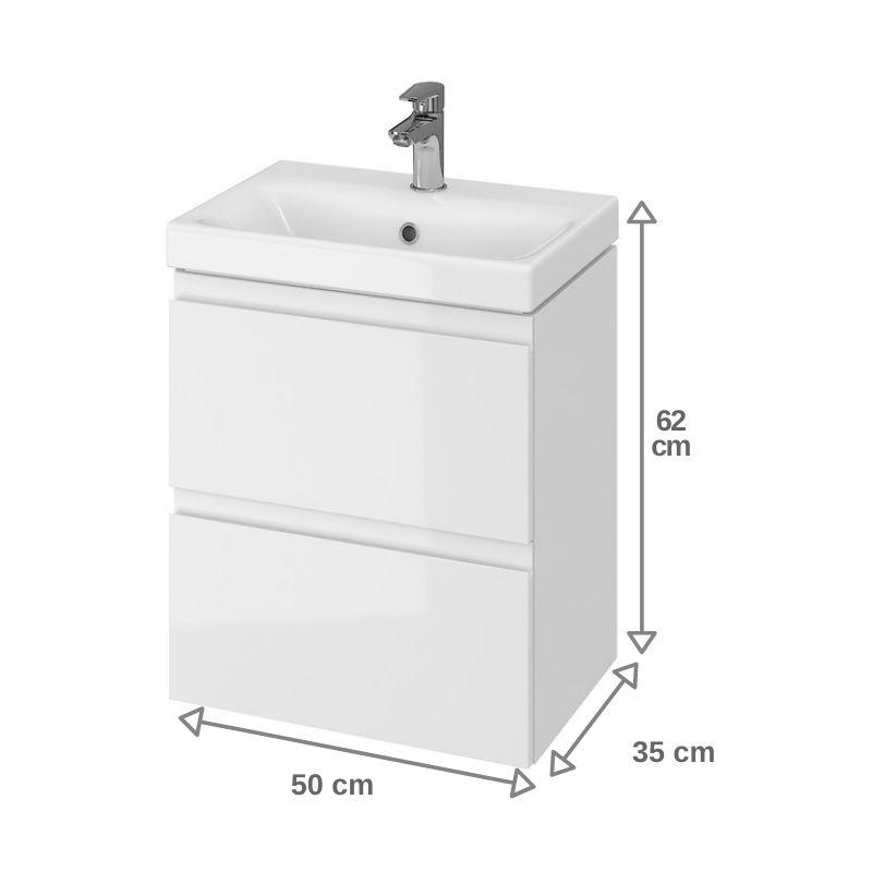 Meuble De Salle De Bain 50x37 5cm Faible Profondeur Blanc