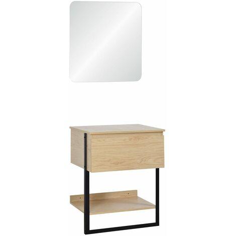 Meuble de Salle de bain 60 cm Bois et Métal + Miroir - NINA - Bois clair
