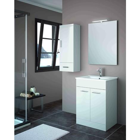 Meuble de salle de bain 60 cm Feros Blanc Brillant avec lavabo