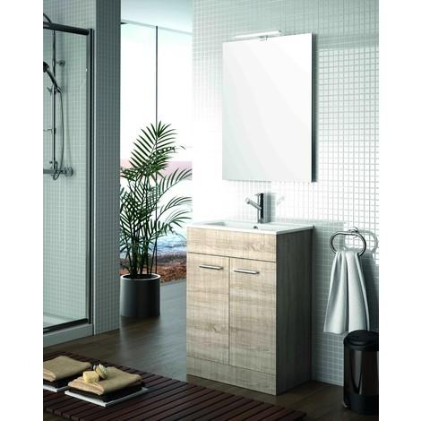 Meuble de salle de bain 60 cm Feros marron Caledonia avec lavabo