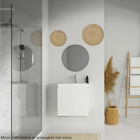 Meuble De Salle De Bain 60x37 5cm Faible Profondeur Blanc