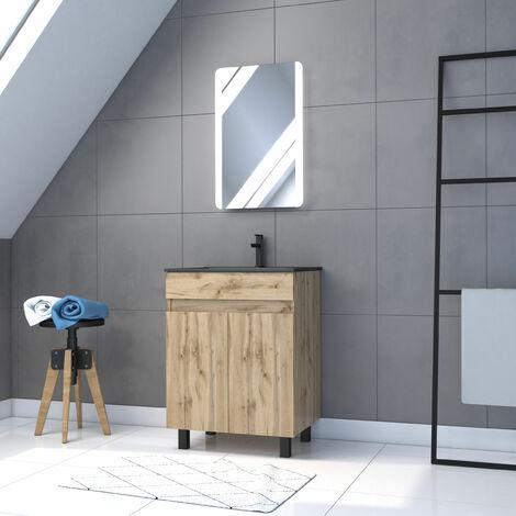 Meuble de salle de bain 60x80cm - 2 portes finition chene naturel + vasque + miroir led - TIMBER 60