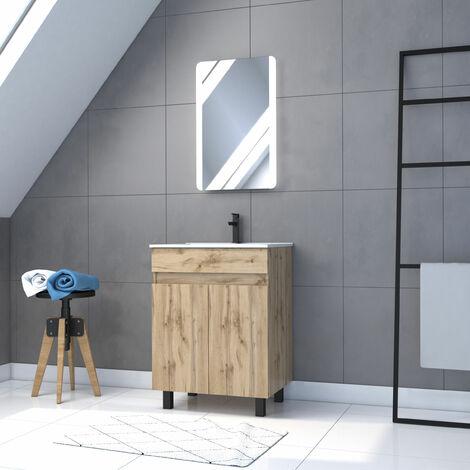Meuble de salle de bain 60x80cm - 2 portes finition chêne naturel + vasque + miroir LED - TIMBER 60