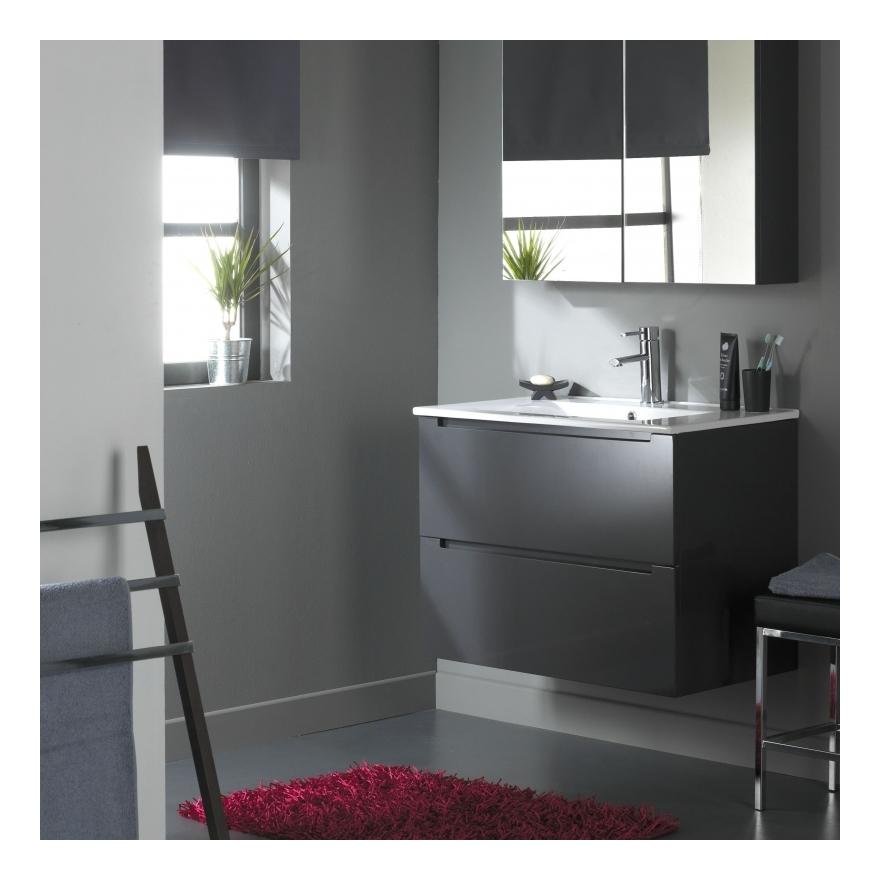 Meuble de salle de bain 80 cm 2 tiroirs Gris Laqué -