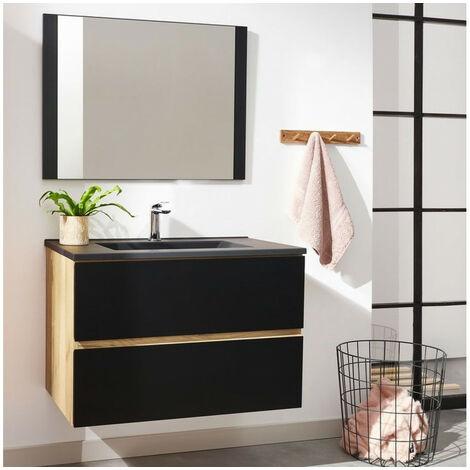 Meuble de salle de bain 80 cm AKELA Couleur chêne et noir - Marron