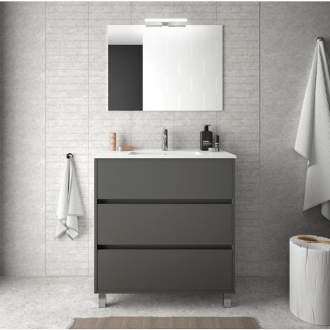 Meuble de salle de bain 80 cm gris opaque avec lavabo en - Meuble salle de bain avec lavabo ...