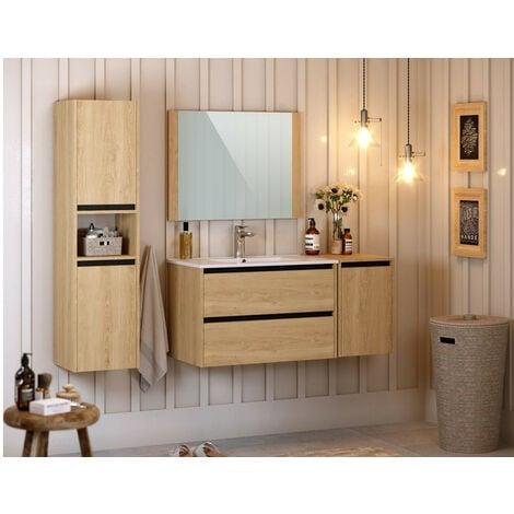 Meuble de salle de bain 80 cm MILAN - Bois