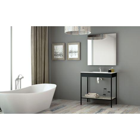 Meuble de salle de bain 80cm METAL 10 - Ensemble noir et ciment
