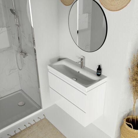 Meuble de salle de bain 80x37.5 cm faible profondeur blanc