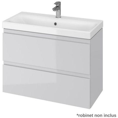 Meuble de salle de bain 80x37.5cm faible profondeur gris
