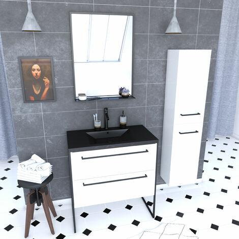 Meuble de salle de bain 80x50 cm - 2 tiroirs blanc - vasque resine noir effet pierre + colonne