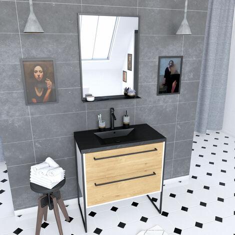 Meuble de salle de bain 80x50 cm + 2 tiroirs chêne naturel + vasque noir effet pierre + miroir noir