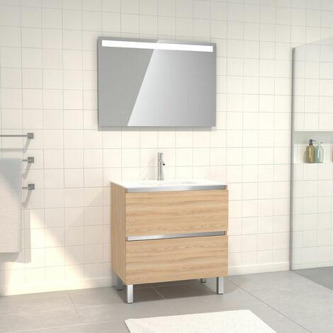 Meuble de salle de bain 80x50 cm Chêne blond + vasque verre blanc + miroir a bande LED 80x60