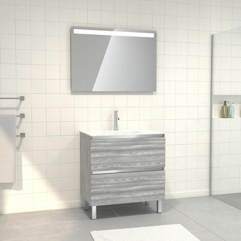 Meuble de salle de bain 80x50 cm Chêne gris-blanc + vasque verre blanc + miroir a bande LED 80x60