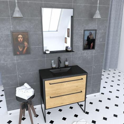 Meuble de salle de bain 80x50 cm NOIR MAT - 2 tiroirs - vasque résine noire effet pierre + miroir