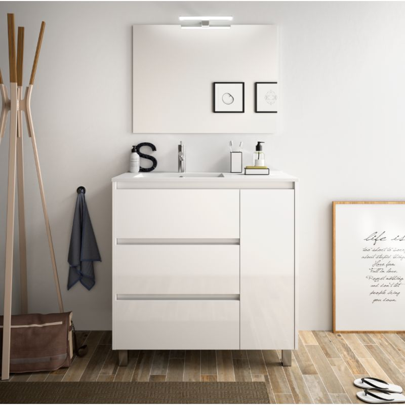 Meuble de salle de bain 85 cm blanc laque avec lavabo en - Meuble de salle de bain laque blanc ...