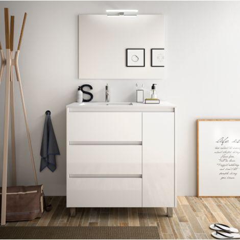 Meuble de salle de bain 85 cm blanc laque avec lavabo en - Meuble salle de bain avec lavabo ...