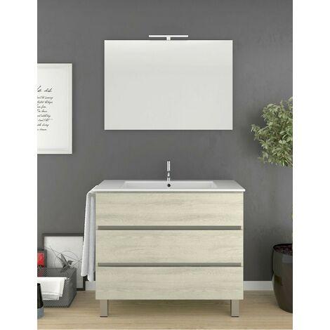 Meuble de salle de bain à poser ARAE avec miroir et lavabo - 3 tiroirs avec poignée à gorge - CRÈME-