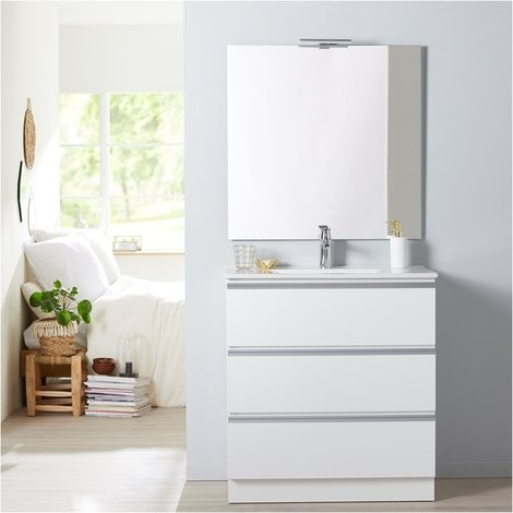 Meuble de salle de bain à poser blanc 80 cm + miroir + éclairage - Série Dynamic 3 tiroirs 80