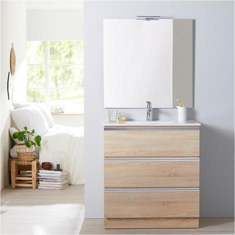 Meuble de salle de bain à poser décor chêne 80 cm + miroir + éclairage - Série Dynamic 3 tiroirs 80