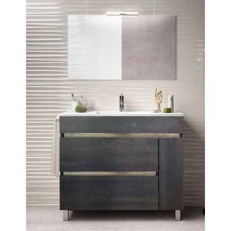 Meuble de salle de bain à poser HÉMERA avec miroir et lavabo - 2 tiroirs avec poignée à gorge et un espace de rangement avec porte - CHÊNE ÉVASION -