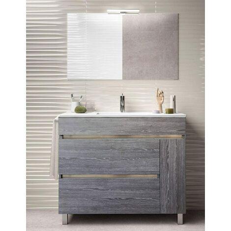 Meuble de salle de bain à poser HÉMERA avec miroir et lavabo - 2 tiroirs avec poignée à gorge et un espace de rangement avec porte - CHÊNE SMOKY -