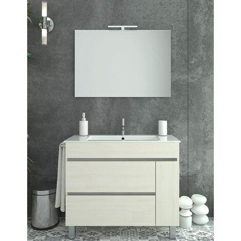 Meuble de salle de bain à poser HÉMERA avec miroir et lavabo - 2 tiroirs avec poignée à gorge et un espace de rangement avec porte - CRÈME -