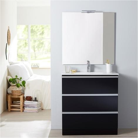 Meuble de salle de bain a poser noir 80 cm + miroir + eclairage - Serie Dynamic 3 tiroirs 80