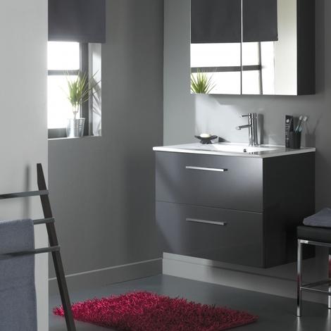 Meuble de salle de bain à suspendre 80 cm 2 tiroirs Gris Laqué